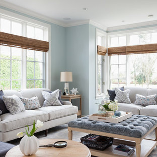 Inspiration for a large timeless formal and open concept dark wood floor and brown floor living room remodel in Seattle with blue walls, a standard fireplace, a tile fireplace and no tv