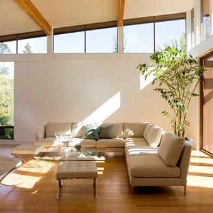Modelo de salón minimalista con paredes blancas y suelo de madera en tonos medios
