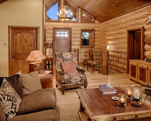 Inspiration For A Rustic Living Room Remodel In Dallas With Beige Walls.  Save Photo. Satterwhite Log Homes