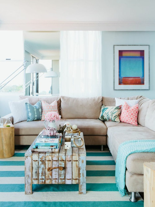 Exceptionnel Example Of A Coastal Formal Living Room Design In Sydney With Blue Walls