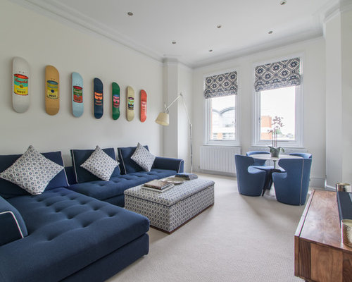 Design Ideas For A Contemporary Formal Living Room In London With White  Walls, Carpet,