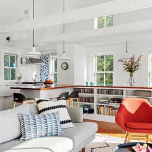 Fernseherloses, Offenes Skandinavisches Wohnzimmer mit weißer Wandfarbe, braunem Holzboden, Hängekamin und gewölbter Decke in Boston