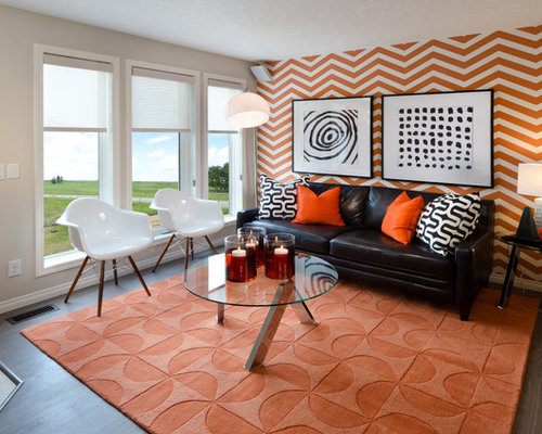Orange and brown living room design ideas renovations for Orange and brown living room ideas