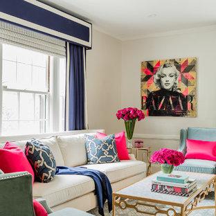 Idee per un soggiorno tradizionale di medie dimensioni e aperto con pareti bianche, pavimento in legno massello medio e pavimento blu
