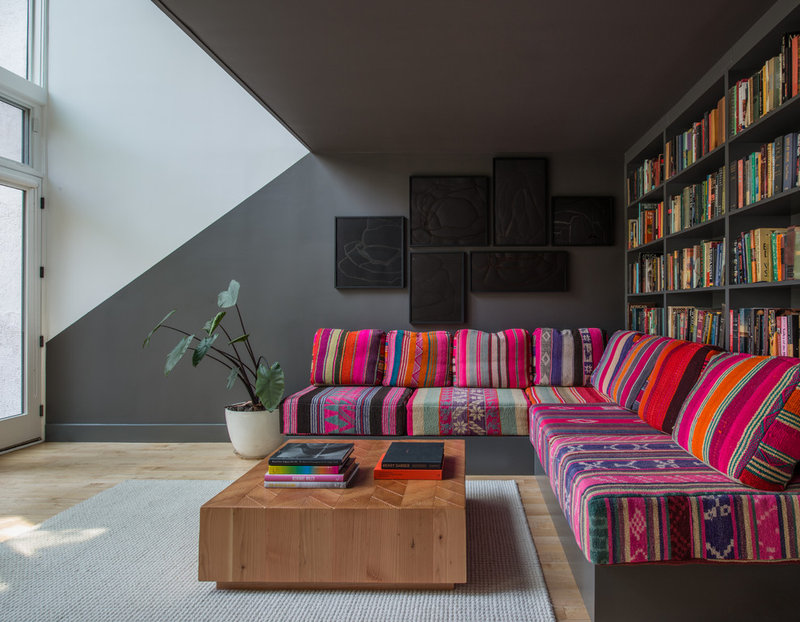 contemporary living room by Jessica Helgerson Interior Design colorful sectional couch with wood grain coffee table