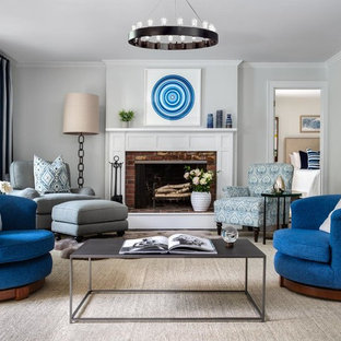 Inspiration For A Transitional Living Room Remodel In New York With Gray  Walls, A Standard