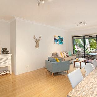 シドニーの小さいビーチスタイルのおしゃれなLDK (白い壁、淡色無垢フローリング、暖炉なし、据え置き型テレビ) の写真