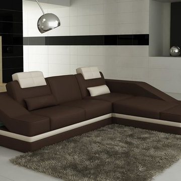 Brown and White Bonded Leather Sectional Sofa with Chsise