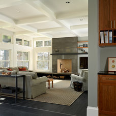 Transitional Living Room by Rehkamp Larson Architects, Inc.