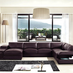 Brown Sectional Sofas in Genuine Leather - Features: