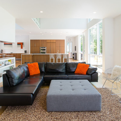Living room - mid-sized contemporary open concept and formal medium tone wood floor and brown floor living room idea in DC Metro with white walls, no fireplace and no tv