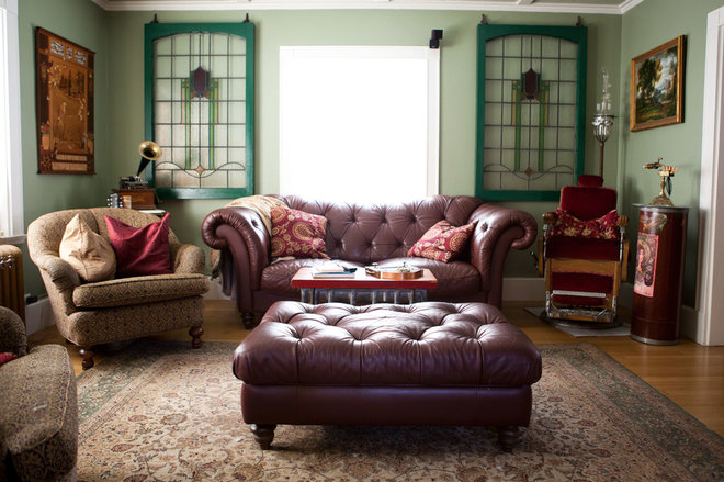 My houzz wondrous steampunk style for a massachusetts for Steampunk living room ideas