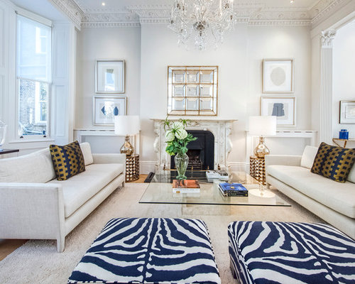 Traditional Formal Open Plan Living Room In London With White Walls And A Standard Fireplace