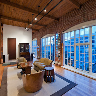 Inspiration for a modern open concept medium tone wood floor living room remodel in San Francisco