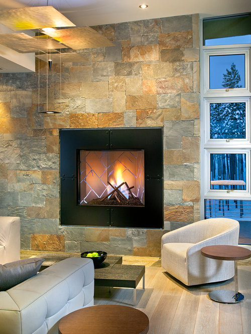 fireplace slate. Inspiration for a huge contemporary formal and open concept light wood  floor living room remodel in Slate Fireplace Houzz