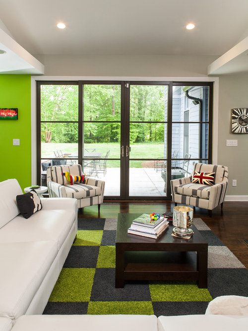 Inspiration for a contemporary living room remodel in Atlanta with green walls : iwp doors - pezcame.com