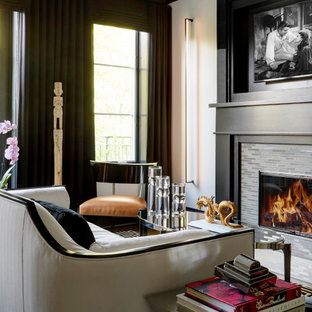 Example of a trendy open concept medium tone wood floor and beige floor living room design in Chicago with white walls, a standard fireplace and a tile fireplace