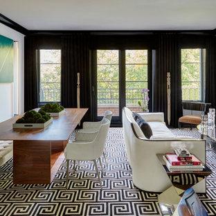 Esempio di un soggiorno contemporaneo aperto con pareti bianche, moquette, camino classico, cornice del camino in intonaco e pavimento nero
