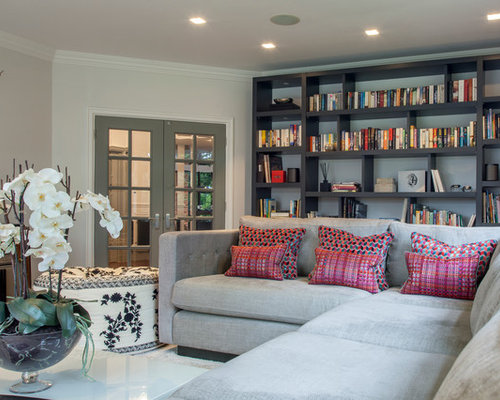 Photo Of A Classic Enclosed Living Room In Buckinghamshire With A Reading  Nook And Grey Walls