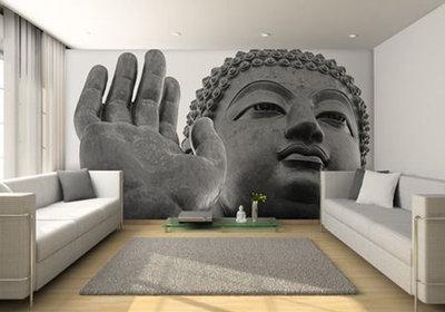 Contemporary Living Room Buddha mural wall
