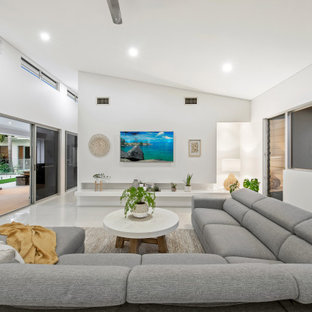 Design ideas for a contemporary living room in Sunshine Coast with white walls and white floor.