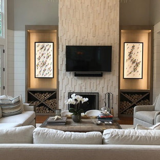 Inspiration For A Transitional Medium Tone Wood Floor And Brown Floor Living  Room Remodel In New