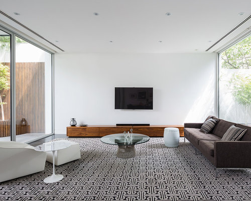 Inspiration For A Large Modern Living Room In Melbourne With White Walls Carpet And