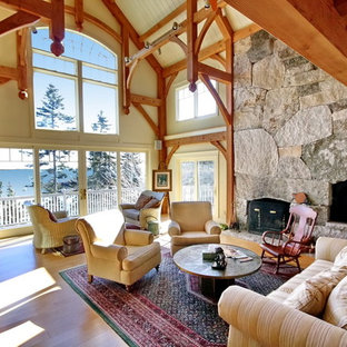 Inspiration for a timeless living room remodel in Portland Maine