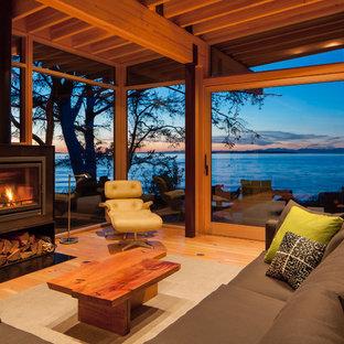 Ejemplo de biblioteca en casa abierta, contemporánea, con suelo de madera en tonos medios, marco de chimenea de metal, chimenea tradicional y televisor retractable
