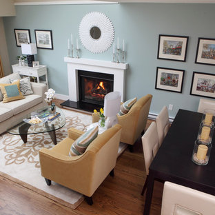 Example of a trendy living room design in Vancouver