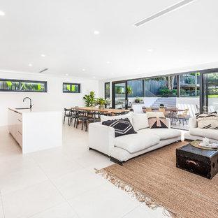Immagine di un soggiorno minimalista di medie dimensioni e aperto con pareti bianche e pavimento in gres porcellanato
