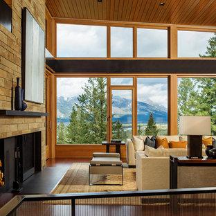 Diseño de salón para visitas contemporáneo con todas las chimeneas