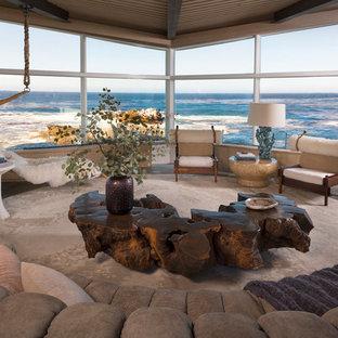 Ispirazione per un soggiorno minimalista aperto con pavimento grigio