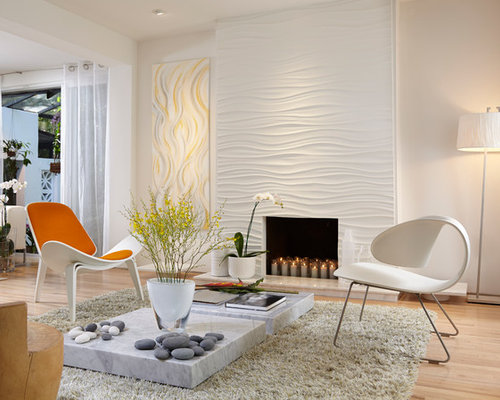 Inspiration For A Mid Sized Contemporary Living Room Remodel In Miami With  Beige Walls,