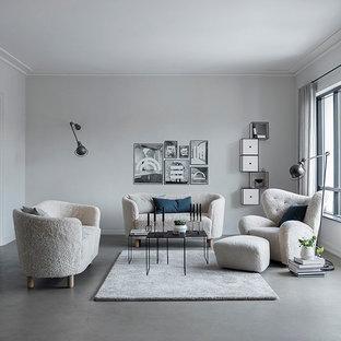 Esempio di un piccolo soggiorno nordico stile loft con pareti grigie, pavimento in linoleum e pavimento grigio