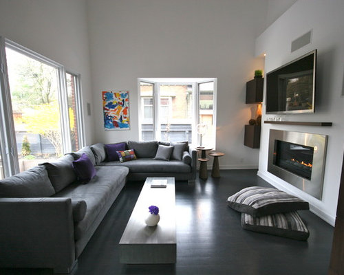 10 X 15 Inspiration For A Modern Black Floor Living Room Remodel In Toronto With White Walls