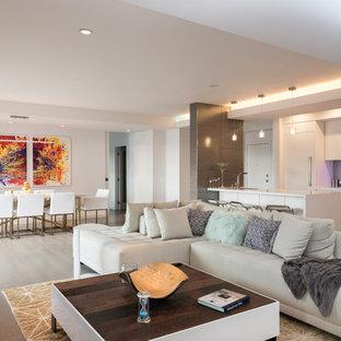Modelo de salón abierto, contemporáneo, grande, con suelo de madera clara, suelo beige, chimenea lineal, marco de chimenea de piedra, pared multimedia y paredes blancas