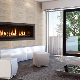 Пример оригинального дизайна: гостиная комната в современном стиле с подвесным камином