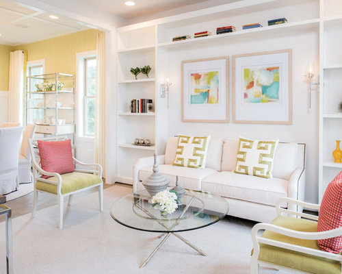 Example Of A Transitional Formal Carpeted And White Floor Living Room  Design In Baltimore With White