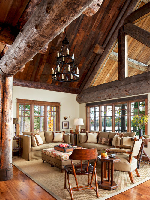 Living Room   Mid Sized Rustic Open Concept And Formal Medium Tone Wood  Floor Living