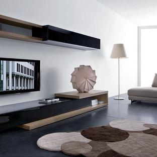 Modelo de salón moderno con televisor colgado en la pared