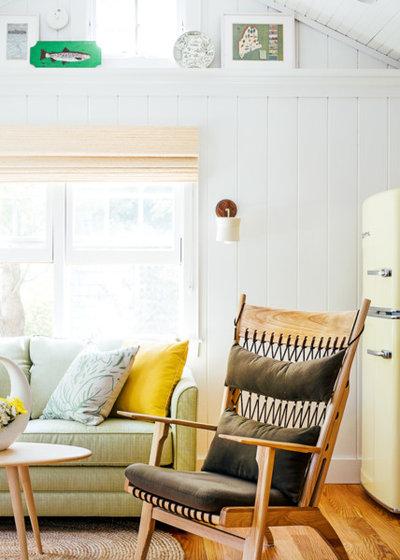 Coastal Living Room by Tyler Karu Design + Interiors