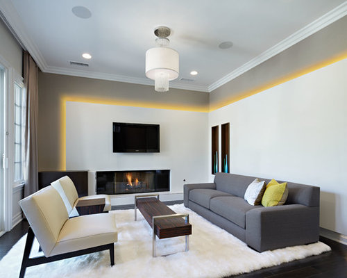 Large Contemporary Formal And Open Concept Dark Wood Floor Living Room Idea  In Los Angeles With Part 43
