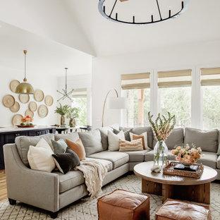 Идея дизайна: большая открытая гостиная комната в стиле современная классика с белыми стенами, светлым паркетным полом, стандартным камином, фасадом камина из камня, мультимедийным центром, бежевым полом и сводчатым потолком