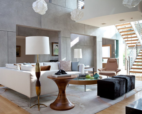 Example Of A Trendy Open Concept Living Room Design In Los Angeles With Gray Walls And