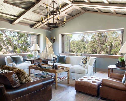 Country Formal Dark Wood Floor And Brown Floor Living Room Photo In San  Diego With Blue