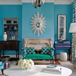 Idee per un soggiorno design con pareti blu