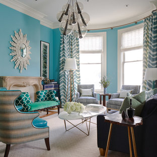 Living Room   Contemporary Living Room Idea In San Francisco With Blue Walls