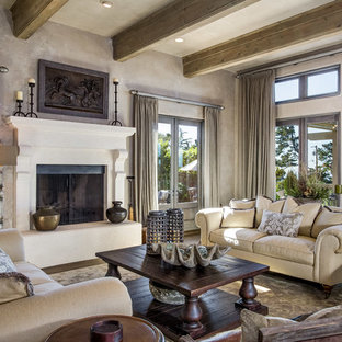 Large Mountain Style Open Concept Dark Wood Floor And Brown Floor Living  Room Photo In San