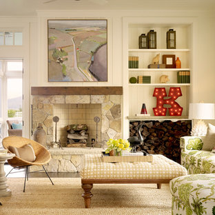 Inspiration For A Farmhouse Formal Carpeted Living Room Remodel In San Francisco With Stone Fireplace